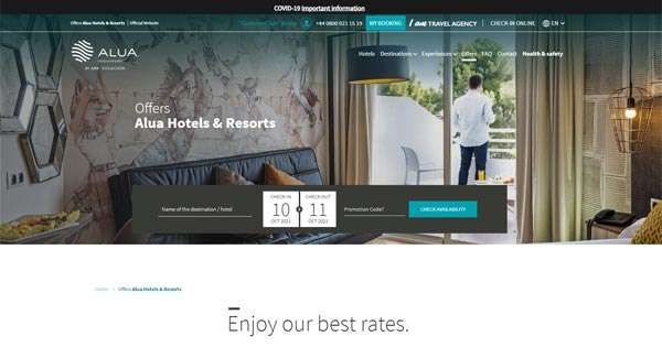 Alua Hotels offers and promo codes updated.
